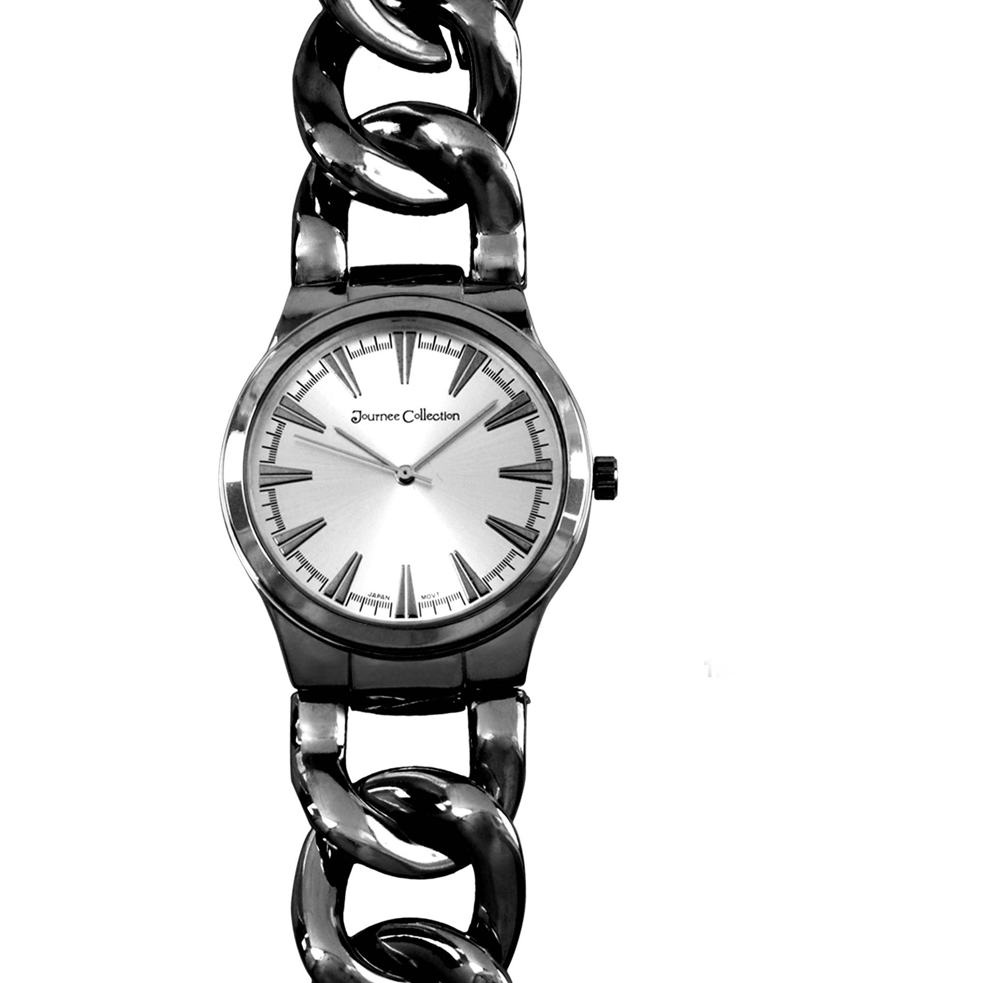 Journee Collection Women's Round Face Metal Curb Link Fashion Watch, Gunmetal