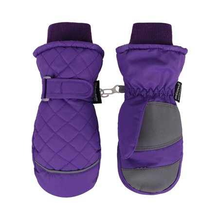 - ANDORRA Kid's Premium Quilted Weather-proof Thinsulate Ski Mittens, Longer Snow Cuff,M,Purple
