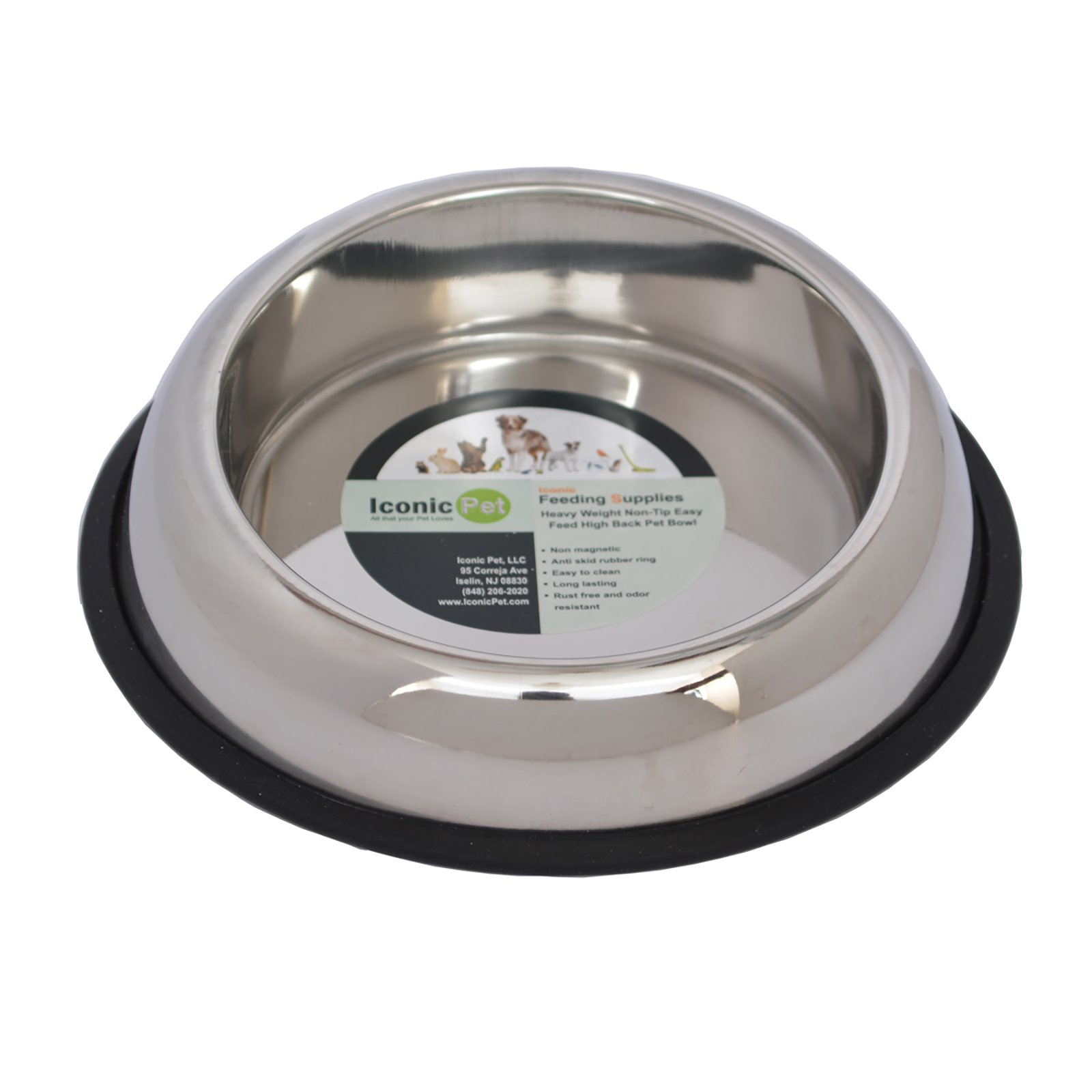 Iconic Pet Heavy Weight Non-Skid Easy Feed High Back Pet Bowl For Dog or Cat, 32 Oz, 4 Cup