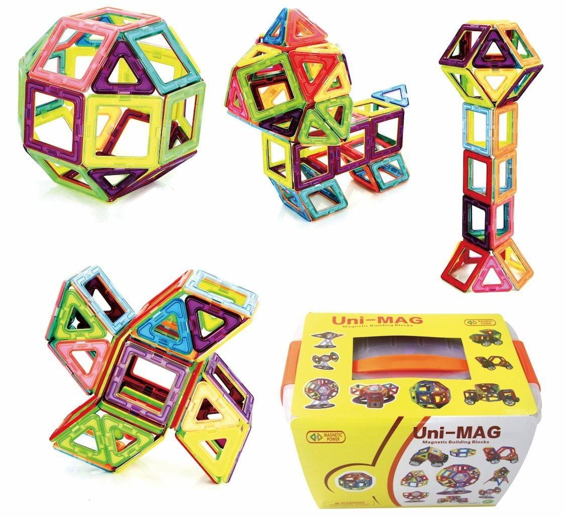 Uni-MAG 56 Pieces Set Magnetic Building Blocks, 2nd Gener...