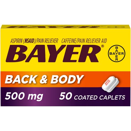 Extra Strength Tablet Aspirin (Bayer Back & Body Extra Strength Aspirin w Caffeine, 500mg Coated Tablets,)
