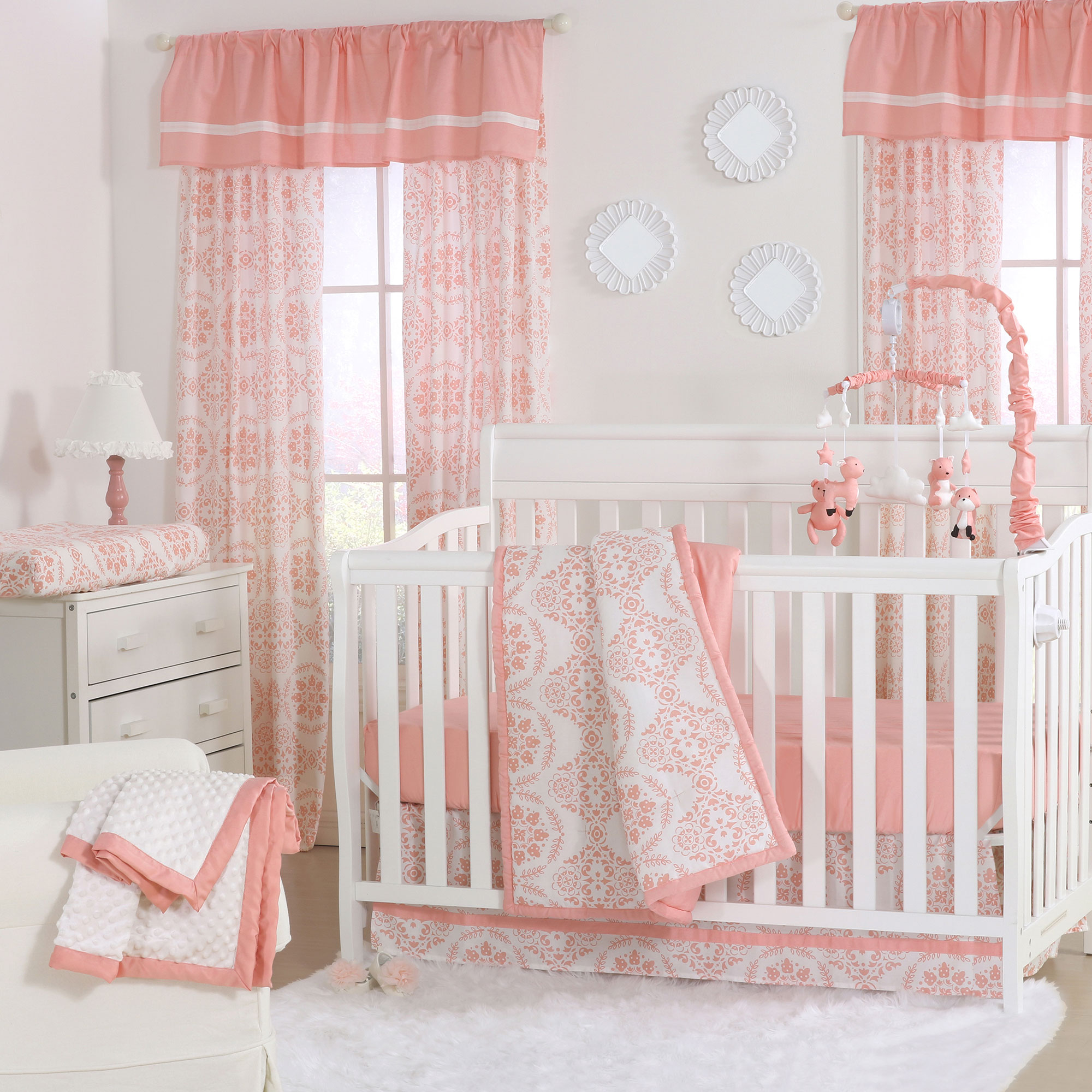 The Peanut Shell 4 Piece Baby Girl Crib Bedding Set - Coral Pink and White Medallion Floral Prints - 100% Cotton Quilt, Dust Ruffle, Fitted Sheet, and Mobile