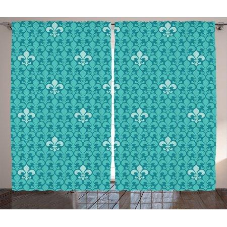 Turquoise Decor Curtains 2 Panels Set, Fleur De Lis Pattern Ancient Lily  Ornate Medieval Interior Monochromic Art, Living Room Bedroom Accessories,  By ...