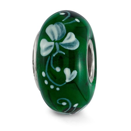 Solid 925 Sterling Silver Reflections Hand Painted An Irish Blessing Fenton Glass Bead