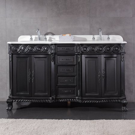 Superb Ove Decors Tristan 60 Inch Double Sink Bathroom Vanity With Marble Top Home Interior And Landscaping Ologienasavecom