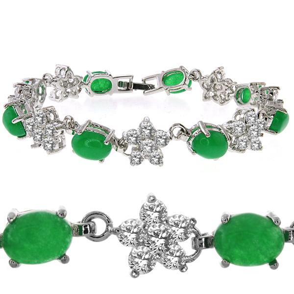 "7.50 Carat Round Cubic Zirconia CZ and Oval Green Jadelite Tennis Bracelet 7"""