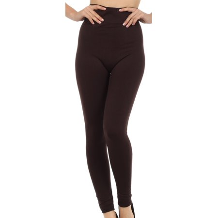 Warm Soft Fleece Lined High Waist Leggings - Coffee - One Size