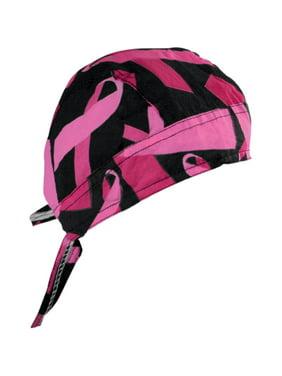 Zan Headgear Flydanna Headwrap Breast Cancer Black/Pink Ribbon (Pink, OSFM)