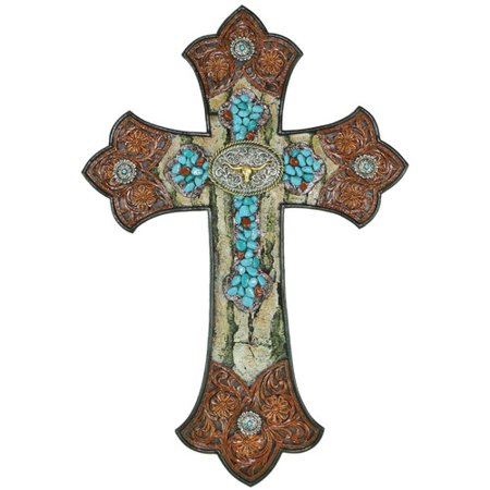 De Leon Collections Cross with Tooled Flower and Longhorn Concho Wall (Concho Collection)