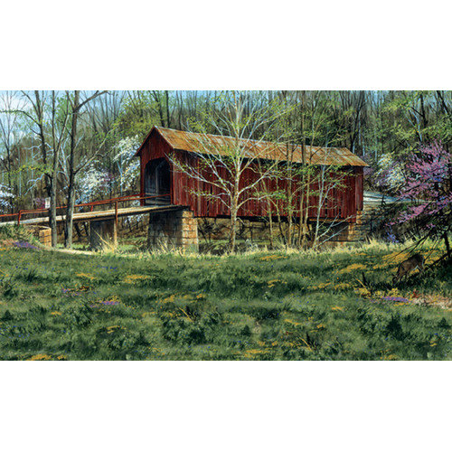 York Wallcoverings Mural Portfolio II Rustic Covered Bridge Surrounded by The First Buds of Spring Wall Mural