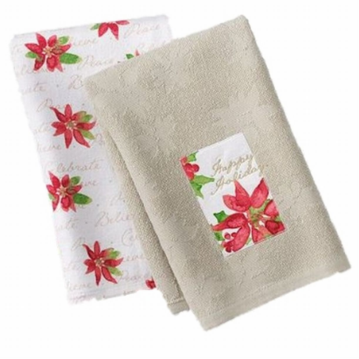 St Nicholas Square Christmas Poinsettia Kitchen Towel Set Happy Holidays