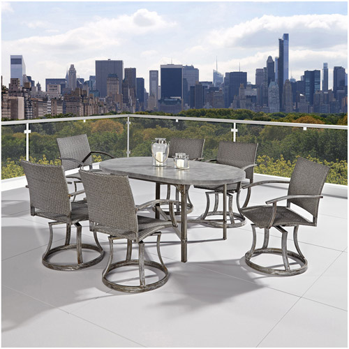 Home Styles Urban Outdoor 7-Piece Dining Set, Aged Metal and Concrete Top