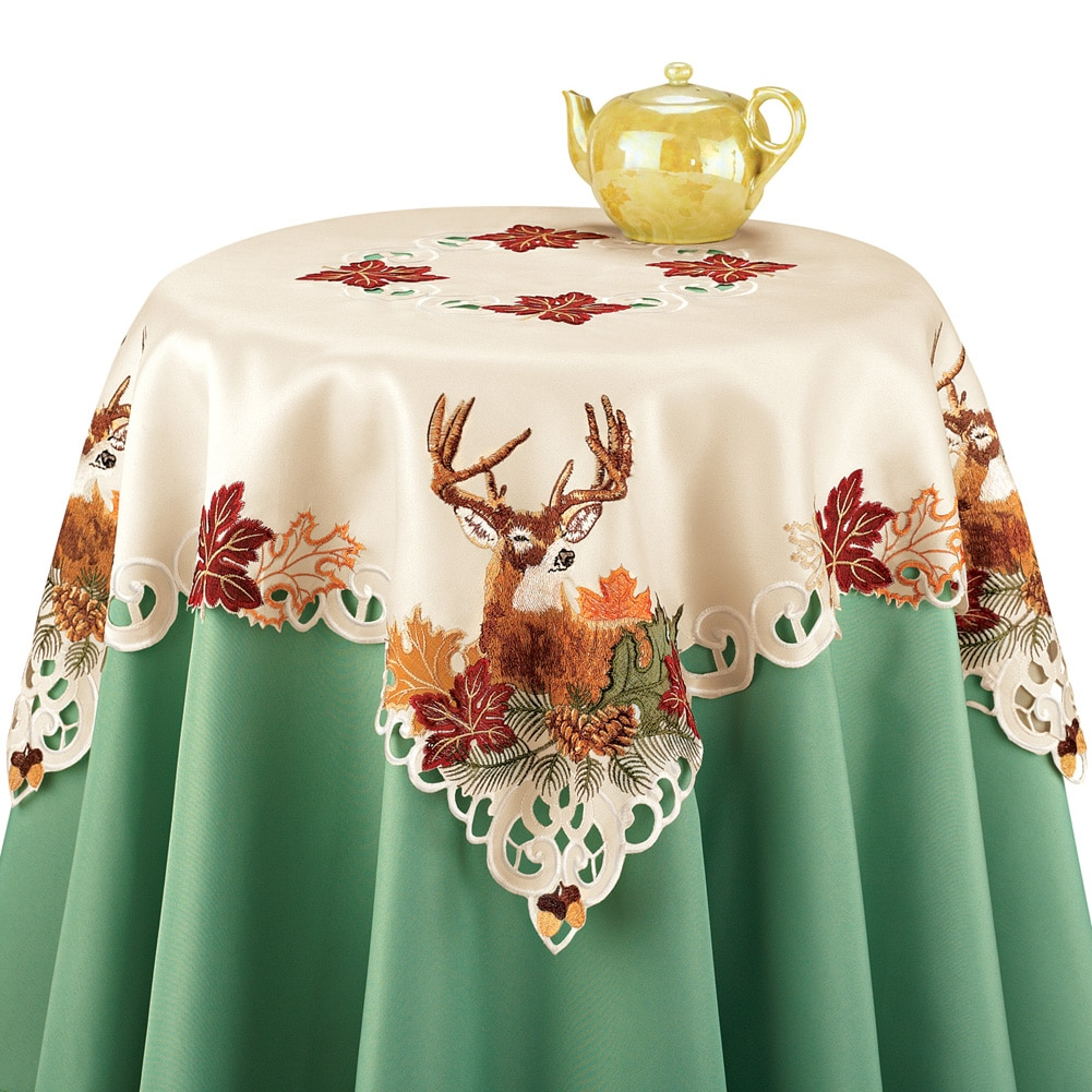 Embroidered Deer and Fall Harvest Leaves Table Linens, With Intricate Cut-outs, Square