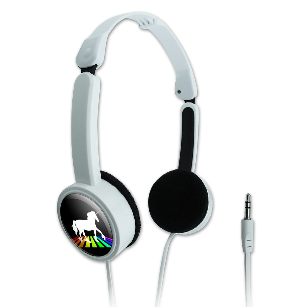 Unicorn Crossing Rainbow Novelty Travel Portable On-Ear Foldable Headphones