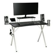 "Essentials Collection 55"" Gaming Computer Desk, 35"" Monitor Shelf, X-Base, in White/Black (ESS-1100-WHT-BLK)"