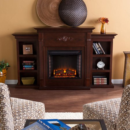 **NEW** Southern Enterprises Griffin Electric Fireplace with Bookcases, Espresso