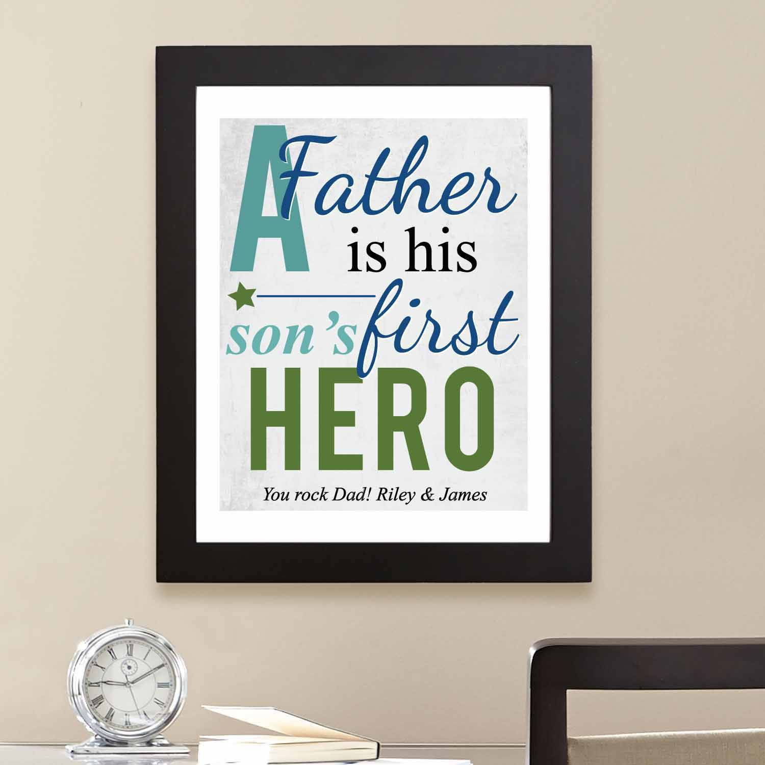 "Personalized First Memories of Father Print, Hero, Blue, 11"" x 14"""