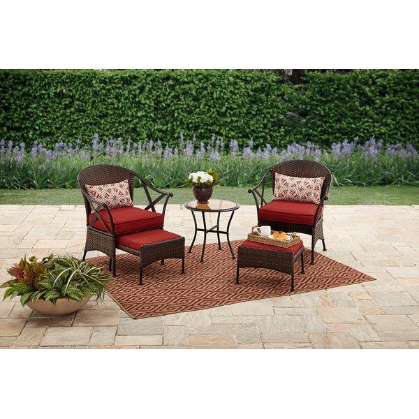 Mainstays Skylar Glen 5 Piece Outdoor Chat Set, Seats 2   Red   Walmart.com