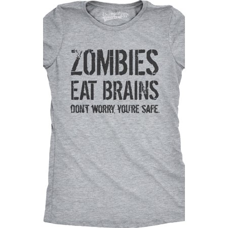 323d2d584 Crazy Dog Funny T-Shirts - Womens Zombies Eat Brains So You're Safe Funny  Zombie T Shirt Living Dead Outbreak Tee - Walmart.com
