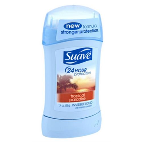 Suave 24 Hour Protection Anti-Perspirant Deodorant Invisible Solid Tropical Paradise 1.40 oz (Pack of 2)