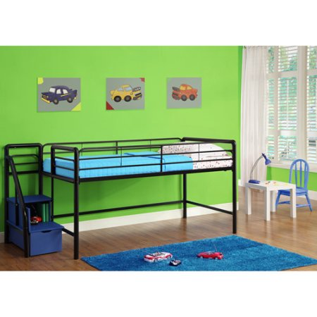 Junior Twin Loft Bed with Storage Steps, Black with Spa Sensations 6'' Memory Foam Mattress