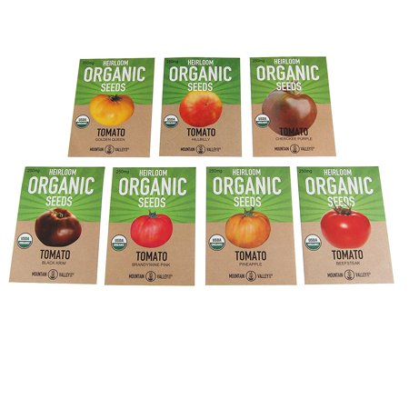 Organic Heirloom Slicing Tomato Garden Seeds - 7 Non-GMO Varieties: Pineapple, Hillbilly, Black Krim, Beefsteak, Brandywine Pink, Cherokee Purple Tomato & Golden