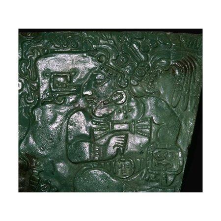 Jade Maya carving of a seated dignitary Print Wall Art