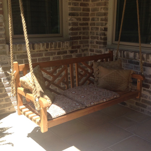 Chic Teak Chippendale Porch Swing by