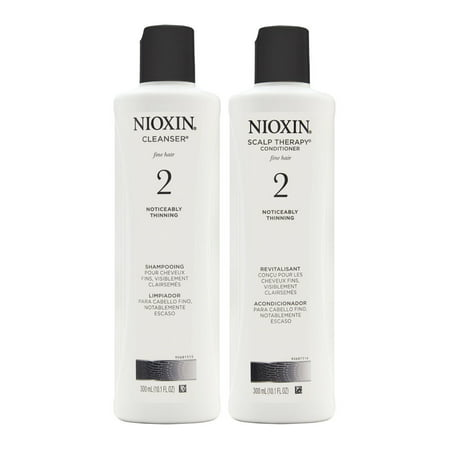 Nioxin System 2 Duo Cleanser + Scalp Therapy, Fine Hair | Noticeably Thinning 2 x 10.1