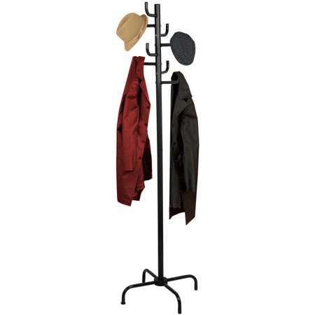 Home Basics Powder-Coated Steel Coat Rack, Black