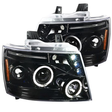 Spec-D Tuning For 2007-2014 Chevy Tahoe Avalanche Suburban Led Dual Halo Jet Black Projector Headlights 2007 2008 2009 2010 2011 2012 2013