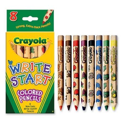 crayola write start colored pencils Crayola write start colored pencils have a hexagonal shape that is perfect for small hands the extra thick tip is highly durable and covers large areas with ease 8 bright colors with fun decorations on every pencil barrel - buy crayola - 8 ct write start colored pencils.