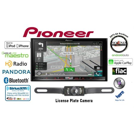 """Pioneer AVIC-7200NEX GPS DVD Receiver w/ CrimeStopper Backup Camera In-Dash Navigation AV Receiver with 7"""" Touchscreen Display with License Plate Style Backup Camera Included"""