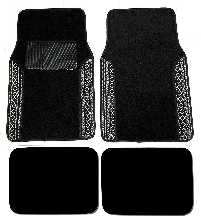 Premium Carpet 4PC Front & Rear Driver Passenger Floor Mats Cars Trucks Sedans SUVs (Black Baja Two-Tone)