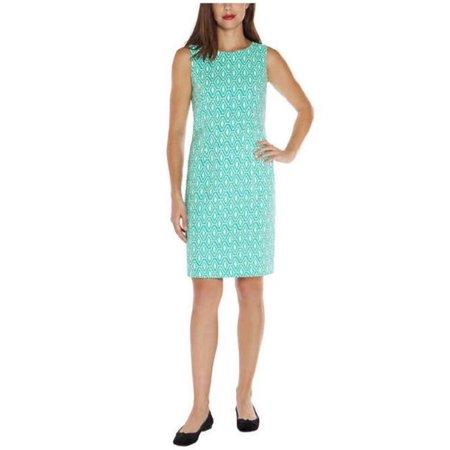 Mario Serrani Womens Sleeveless Shift Dress (Amazon Green/White Deco, 2)