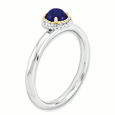 Sterling Silver & 14k Stackable Expressions Lapis Polished Ring Size 9 - image 3 of 3