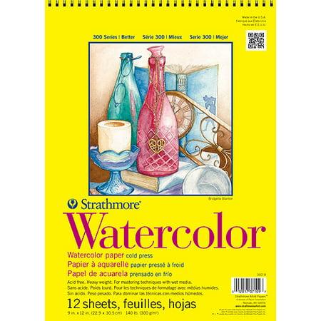"Strathmore Watercolor Paper Pad, 9"" x 12"", 140lb, Cold Press, 12 Sheets"