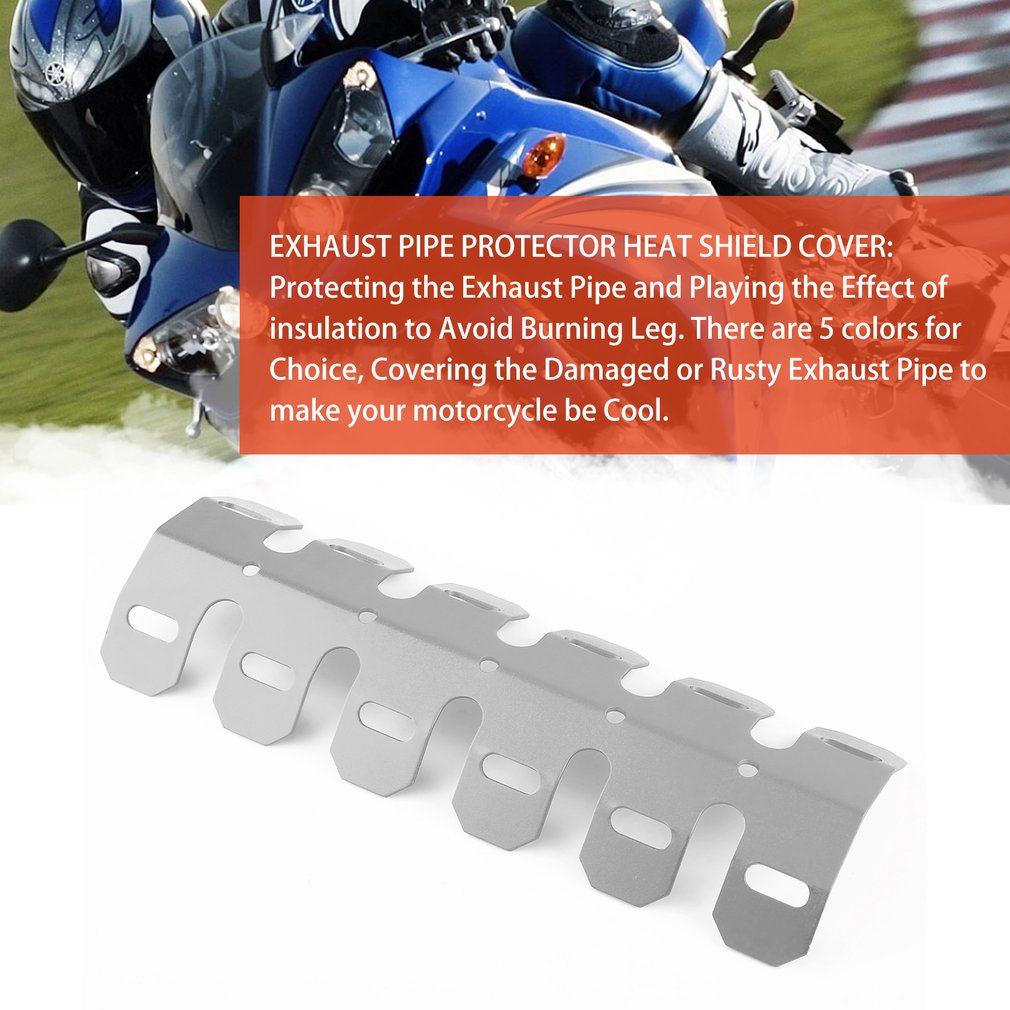 Silver Cuque Universal Motorcycle Hole Heat-Shield Straight Exhaust Pipe Cover Metal Steel Exhaust Muffler Link Pipe Hole Heat Shield Link Pipe Conector Cover Heel Guard Assembly