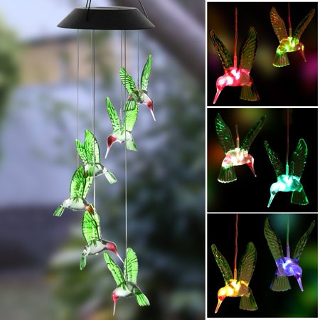 Color Changing Hummingbird Solar LED Wind Chimes for Home Garden Bedroom Decor ()