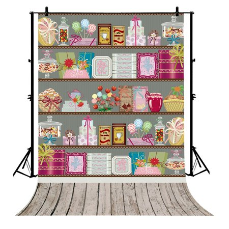 GCKG 7x5ft Cartoon Candy buffet Theme bar shop Newborn Polyester Photography Backdrop Photo Background Studio Props - image 4 of 4