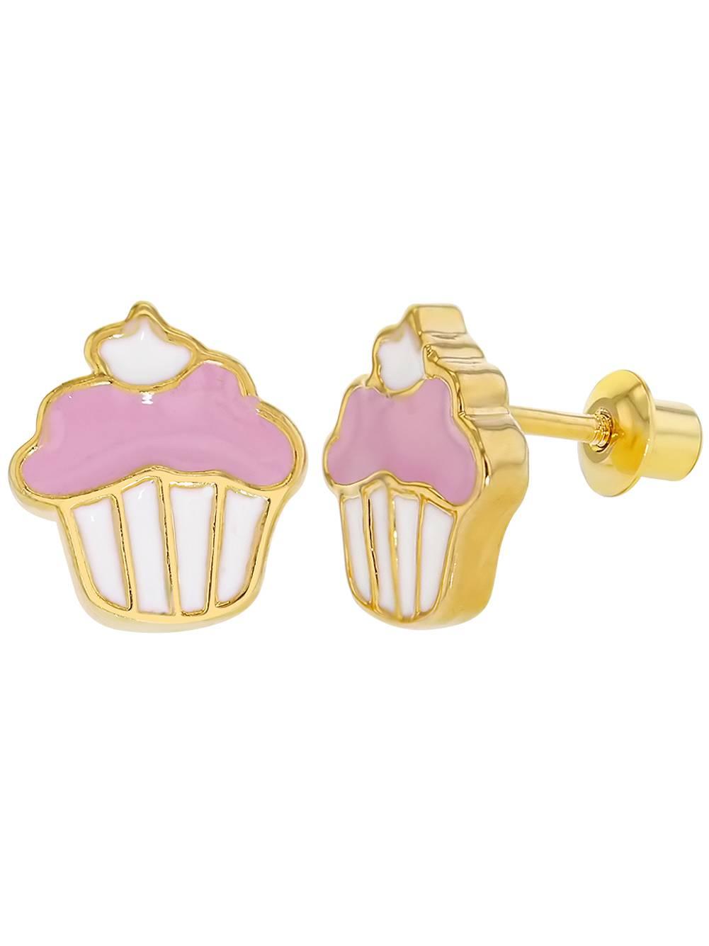 In Season Jewelry 18k Gold Plated Pink Enamel Cupcake Earrings Screw Back for Girls