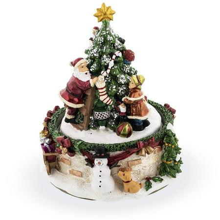 Santa and Girl Decorating Christmas Tree Rotating Musical (Christmas Girl Figurine)