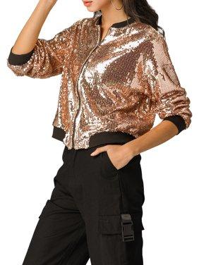 Allegra K Women's Sequin Glitter Cropped Long Sleeve Zipper Bomber Jacket L Rose Gold