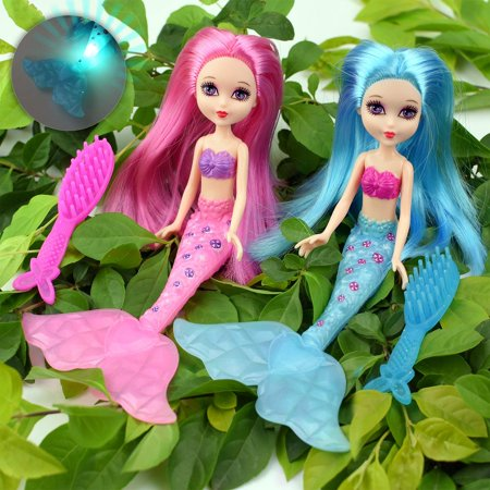2-Piece Mermaid Doll Toy for Girls or Cake Decoration,Swim in the Water at Bath Time, the Pool, and Beach with 2 Combs