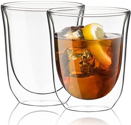 JoyJolt Levitea Double Walled Glasses Thermo Tumber 8.4-Ounce , Set of 2 Barware, Drinkware, Glassware