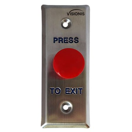 Visionis VIS 7014 Small Slim Red Round Request to Exit Button for Door