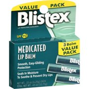 Blistex Medicated Lip Balm, Heals Dry and Chapped Lips, SPF 15, 3-pack