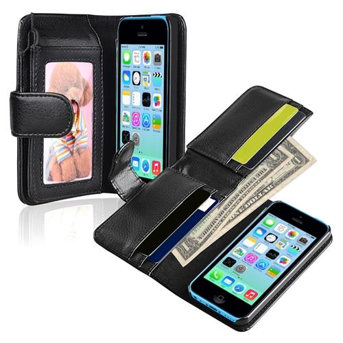 Insten Black Leather Case with Credit Card Wallet for Apple iPhone 5C