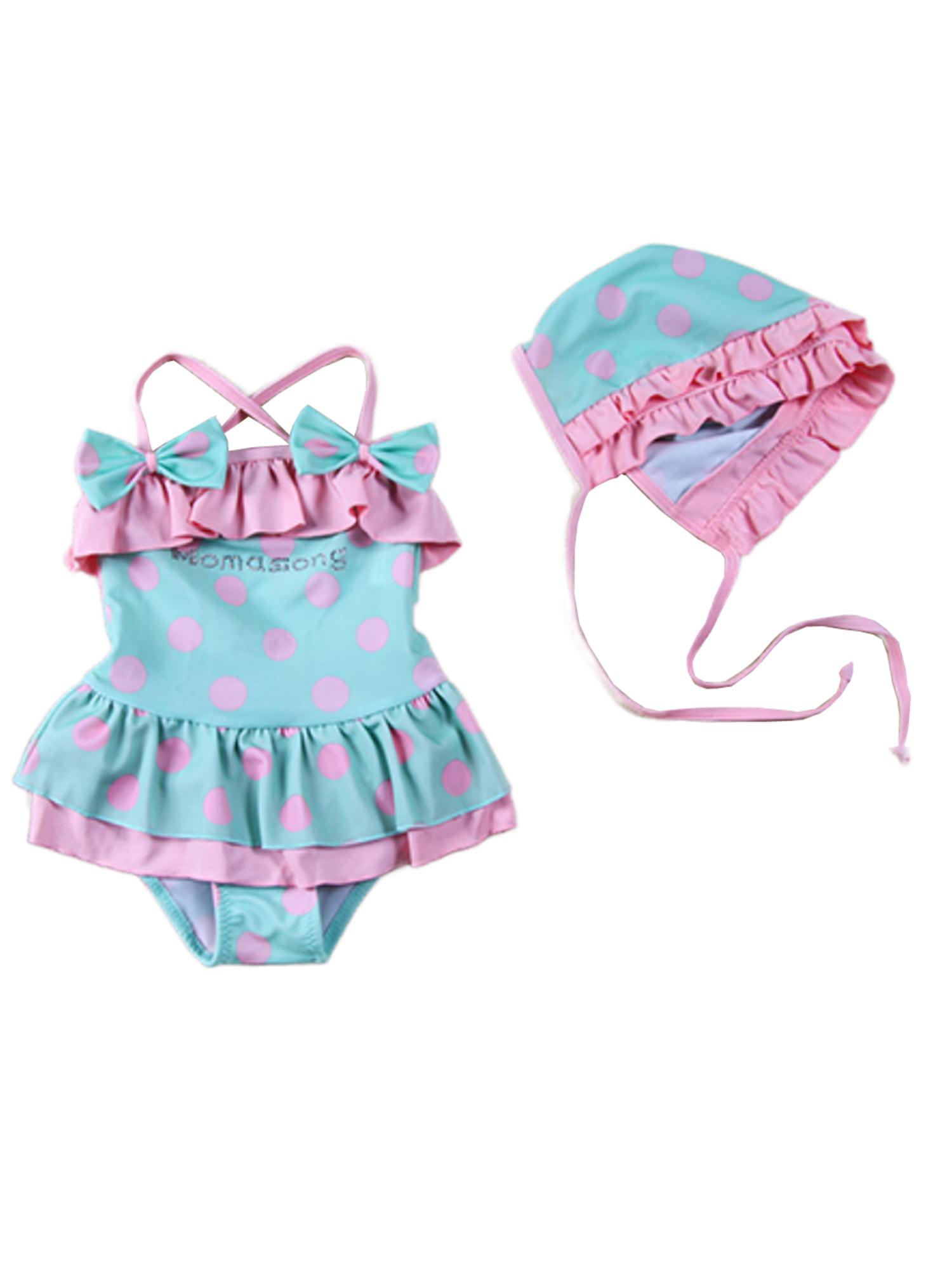 StylesILove Beach Girls Polka Dot Bow Swimsuit 2-piece (1-2 Years)