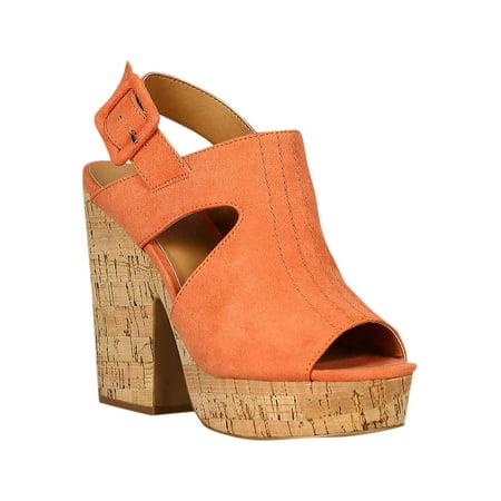 Chunky Cork Heels - Women Faux Suede Peep Toe Mule Slingback Cork Platform Chunky Heel Sandal 18249